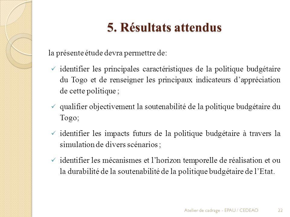 5. Résultats attendus la présente étude devra permettre de: identifier les principales caractéristiques de la politique budgétaire du Togo et de rense