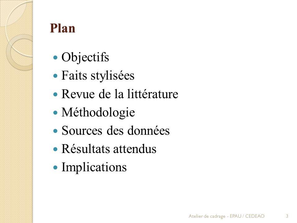 Plan Objectifs Faits stylisées Revue de la littérature Méthodologie Sources des données Résultats attendus Implications Atelier de cadrage - EPAU / CE