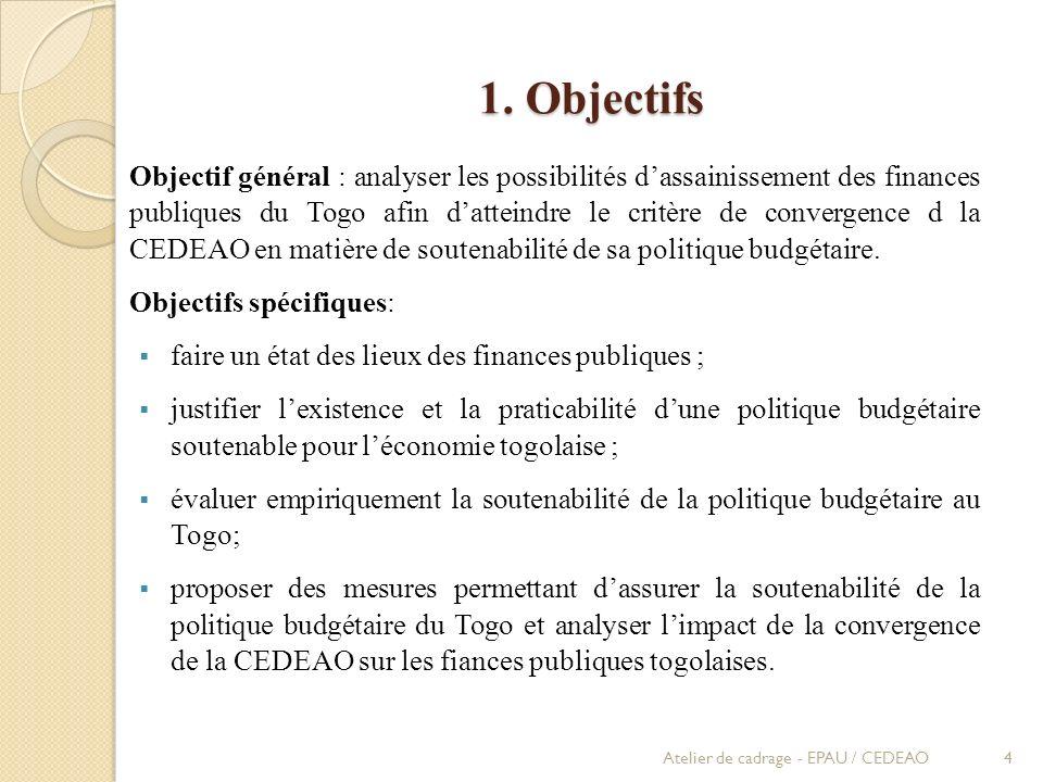 1. Objectifs Objectif général : analyser les possibilités dassainissement des finances publiques du Togo afin datteindre le critère de convergence d l