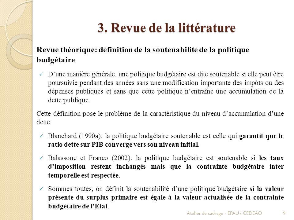 3. Revue de la littérature Revue théorique: définition de la soutenabilité de la politique budgétaire Dune manière générale, une politique budgétaire