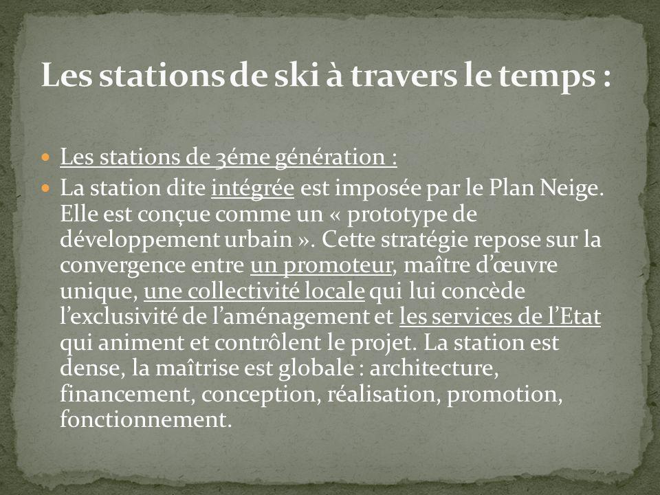Les stations de 3éme génération : La station dite intégrée est imposée par le Plan Neige. Elle est conçue comme un « prototype de développement urbain
