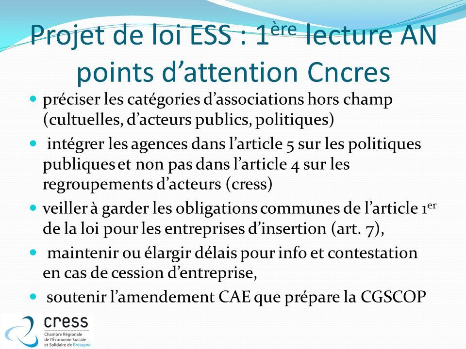 Projet de loi ESS : 1 ère lecture AN points dattention Cncres préciser les catégories dassociations hors champ (cultuelles, dacteurs publics, politiqu