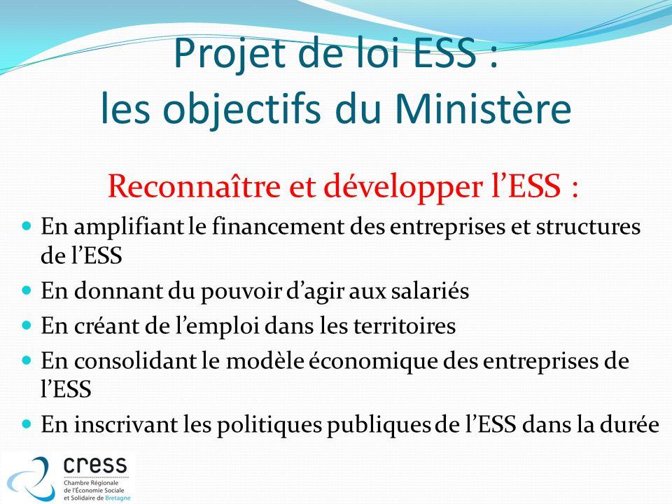 Projet de loi ESS : les objectifs du Ministère Reconnaître et développer lESS : En amplifiant le financement des entreprises et structures de lESS En
