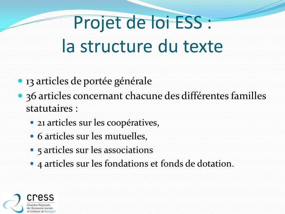 Projet de loi ESS : la structure du texte 13 articles de portée générale 36 articles concernant chacune des différentes familles statutaires : 21 arti