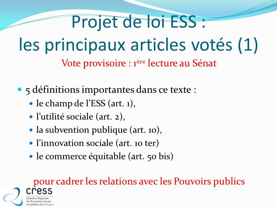 Projet de loi ESS : les principaux articles votés (1) Vote provisoire : 1 ère lecture au Sénat 5 définitions importantes dans ce texte : le champ de l