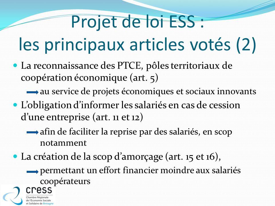 Projet de loi ESS : les principaux articles votés (2) La reconnaissance des PTCE, pôles territoriaux de coopération économique (art. 5) au service de
