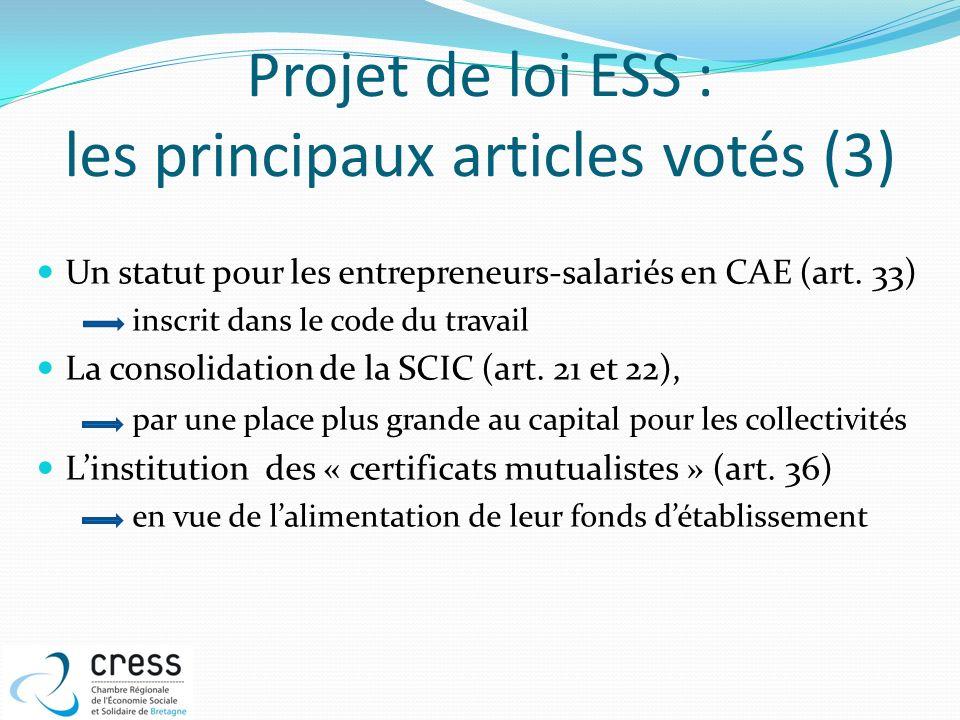 Projet de loi ESS : les principaux articles votés (3) Un statut pour les entrepreneurs-salariés en CAE (art. 33) inscrit dans le code du travail La co