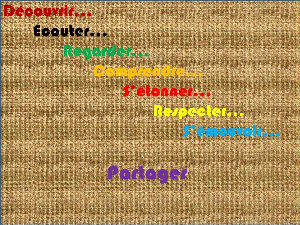 Découvrir… Ecouter… Regarder… Comprendre… Sétonner… Respecter… Sémouvoir… Partager