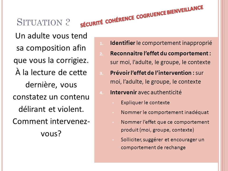 S ITUATION 3 1. Identifier le comportement inapproprié 2.