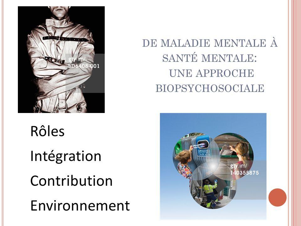 DE MALADIE MENTALE À SANTÉ MENTALE : UNE APPROCHE BIOPSYCHOSOCIALE Rôles Intégration Contribution Environnement