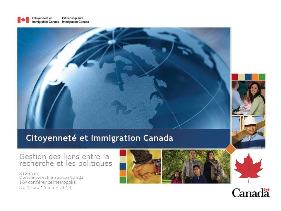 Gestion des liens entre la recherche et les politiques Xiaoyi Yan Citoyenneté et Immigration Canada 16 e conférence Metropolis Du 13 au 15 mars 2014
