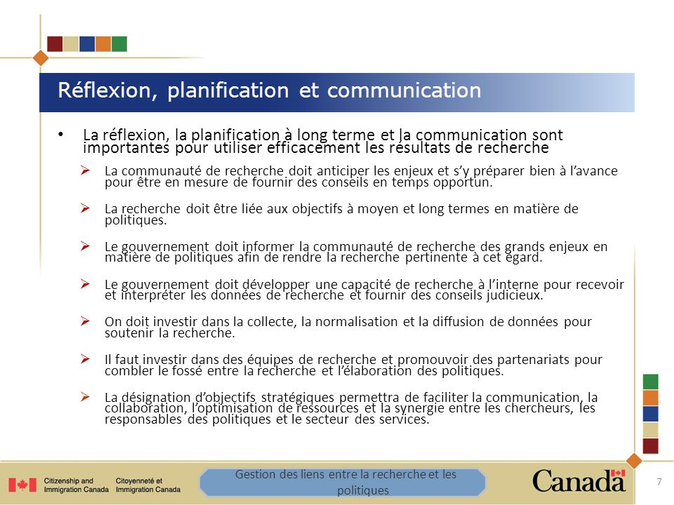 La réflexion, la planification à long terme et la communication sont importantes pour utiliser efficacement les résultats de recherche La communauté d