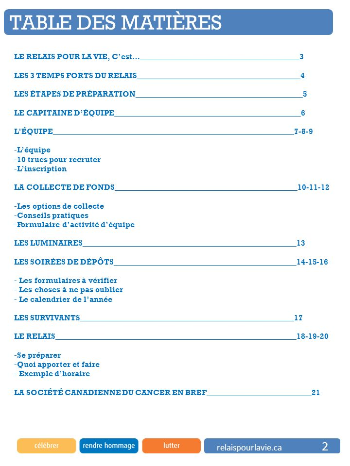 relaispourlavie.ca 2 TABLE DES MATIÈRES LE RELAIS POUR LA VIE, Cest…_________________________________________3 LES 3 TEMPS FORTS DU RELAIS____________