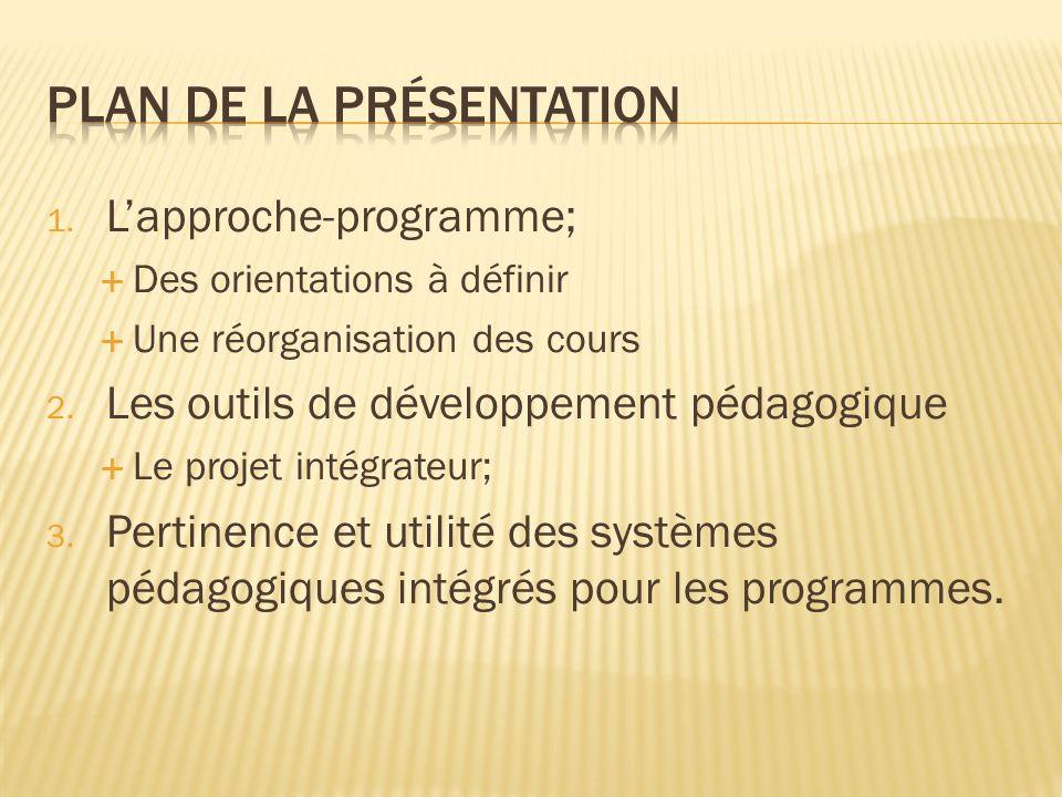 1. Lapproche-programme; Des orientations à définir Une réorganisation des cours 2. Les outils de développement pédagogique Le projet intégrateur; 3. P