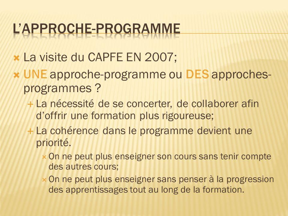 La visite du CAPFE EN 2007; UNE approche-programme ou DES approches- programmes ? La nécessité de se concerter, de collaborer afin doffrir une formati