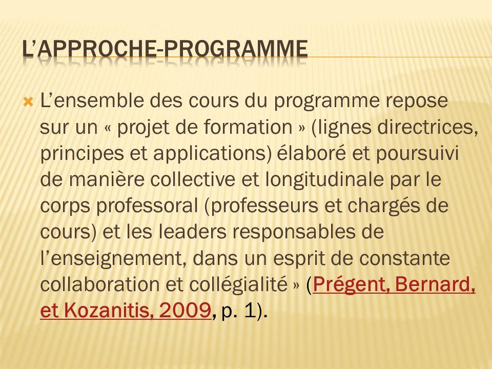Lensemble des cours du programme repose sur un « projet de formation » (lignes directrices, principes et applications) élaboré et poursuivi de manière