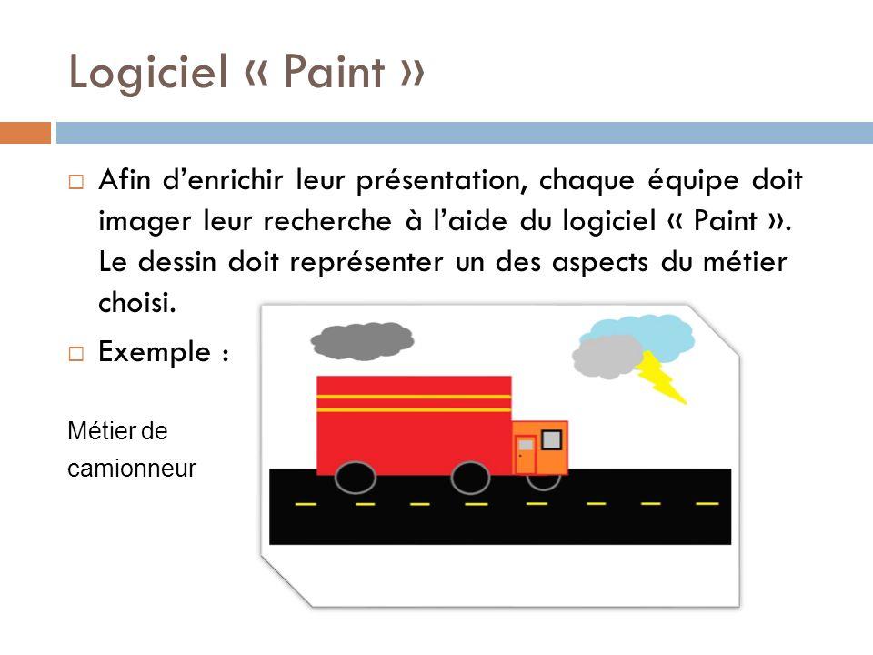 Logiciel « Paint » Afin denrichir leur présentation, chaque équipe doit imager leur recherche à laide du logiciel « Paint ».