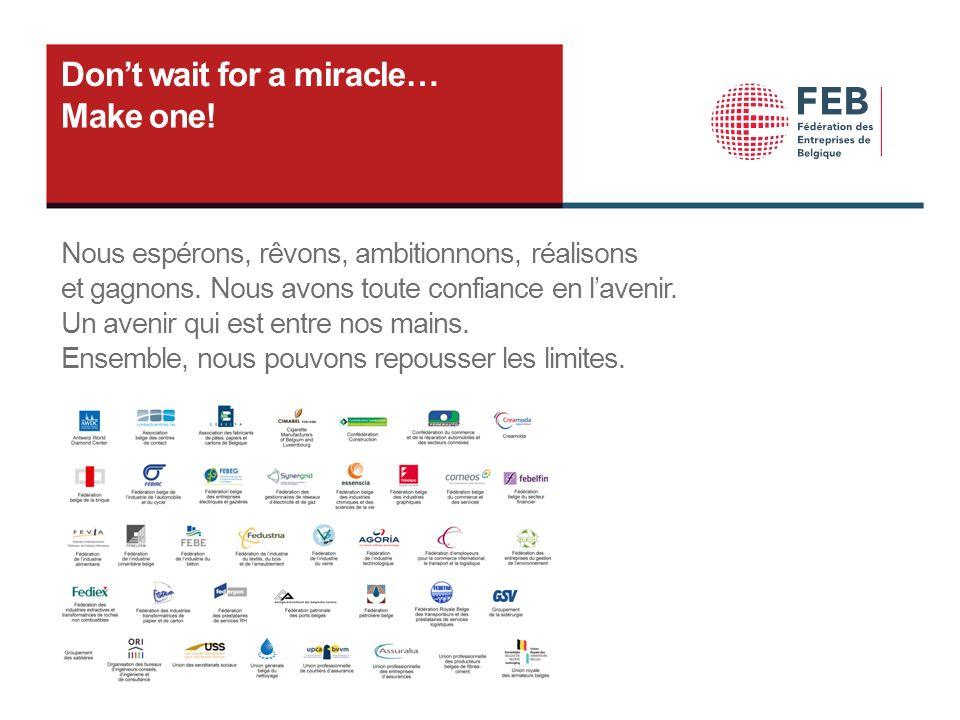 Dont wait for a miracle… Make one! Nous espérons, rêvons, ambitionnons, réalisons et gagnons. Nous avons toute confiance en lavenir. Un avenir qui est
