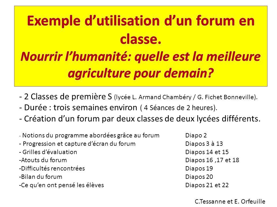- 2 Classes de première S (lycée L.Armand Chambéry / G.