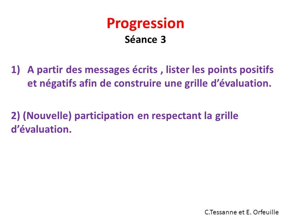 Progression Séance 3 1)A partir des messages écrits, lister les points positifs et négatifs afin de construire une grille dévaluation.
