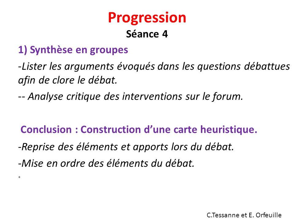 Progression Séance 4 1) Synthèse en groupes -Lister les arguments évoqués dans les questions débattues afin de clore le débat.