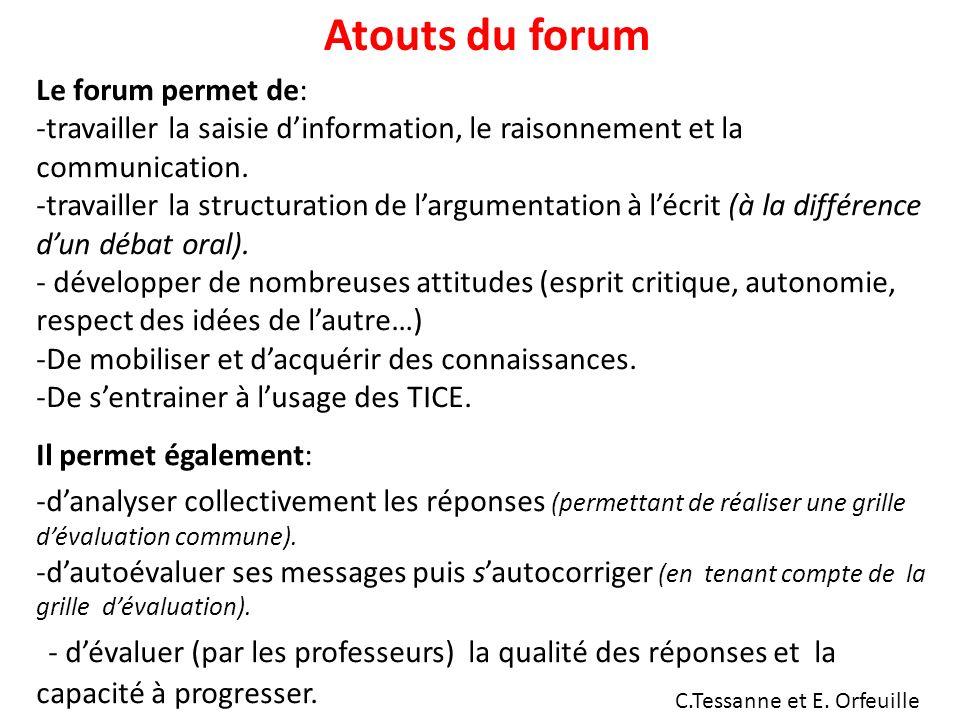 Atouts du forum Le forum permet de: -travailler la saisie dinformation, le raisonnement et la communication.