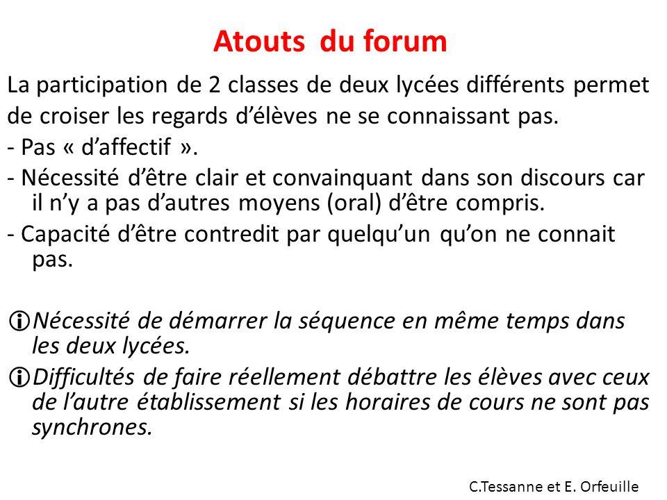 Atouts du forum La participation de 2 classes de deux lycées différents permet de croiser les regards délèves ne se connaissant pas.