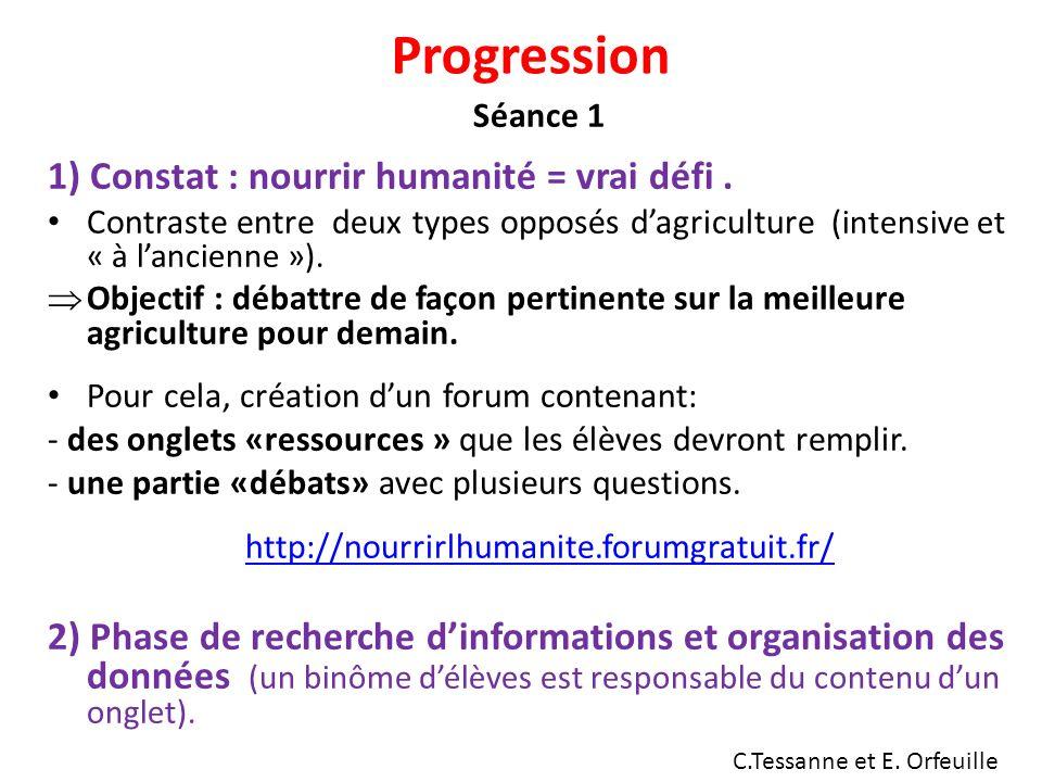 Progression Séance 1 1) Constat : nourrir humanité = vrai défi.
