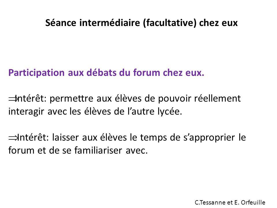 Séance intermédiaire (facultative) chez eux Participation aux débats du forum chez eux.