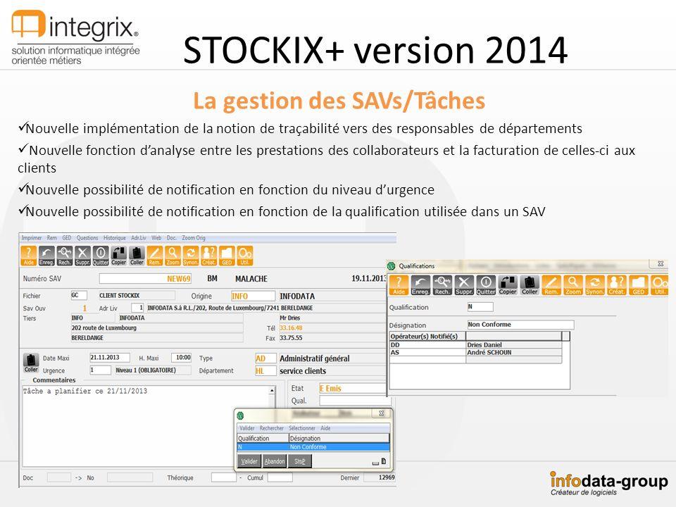 STOCKIX+ version 2014 La gestion des SAVs/Tâches Nouvelle implémentation de la notion de traçabilité vers des responsables de départements Nouvelle fo