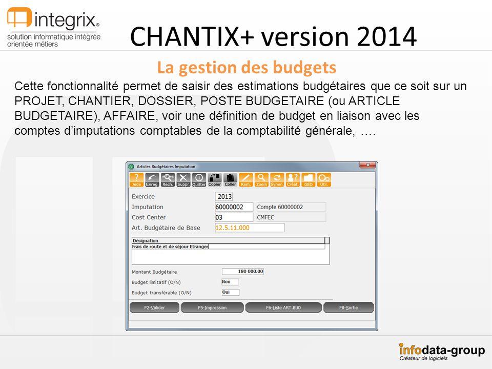CHANTIX+ version 2014 La gestion des budgets Cette fonctionnalité permet de saisir des estimations budgétaires que ce soit sur un PROJET, CHANTIER, DO