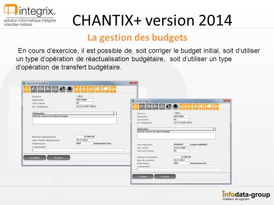 CHANTIX+ version 2014 La gestion des budgets En cours dexercice, il est possible de, soit corriger le budget initial, soit dutiliser un type dopératio