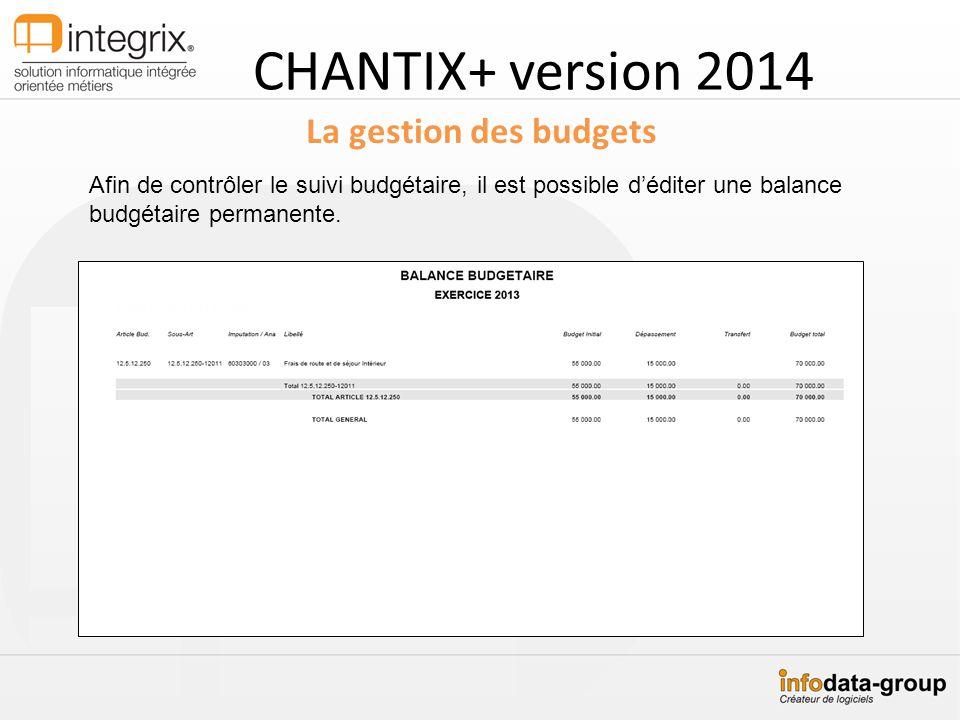 CHANTIX+ version 2014 La gestion des budgets Afin de contrôler le suivi budgétaire, il est possible déditer une balance budgétaire permanente.
