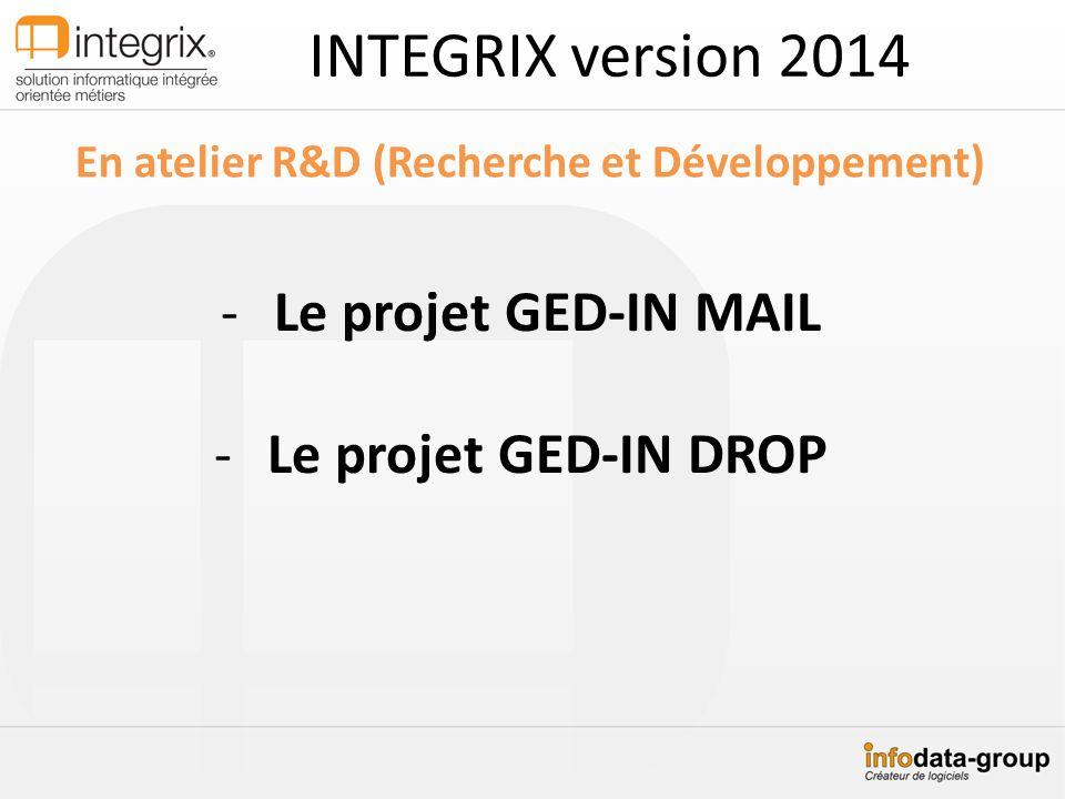 INTEGRIX version 2014 En atelier R&D (Recherche et Développement) -Le projet GED-IN MAIL -Le projet GED-IN DROP