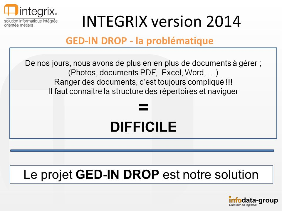 INTEGRIX version 2014 GED-IN DROP - la problématique De nos jours, nous avons de plus en en plus de documents à gérer ; (Photos, documents PDF, Excel, Word, …) Ranger des documents, cest toujours compliqué !!.