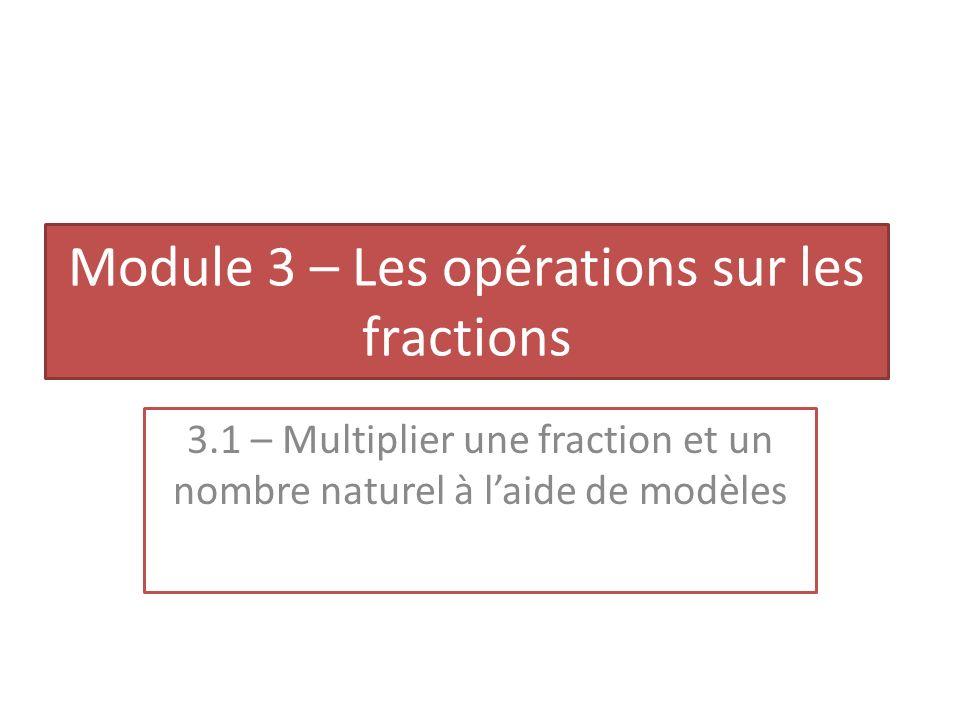 Module 3 – Les opérations sur les fractions 3.1 – Multiplier une fraction et un nombre naturel à laide de modèles