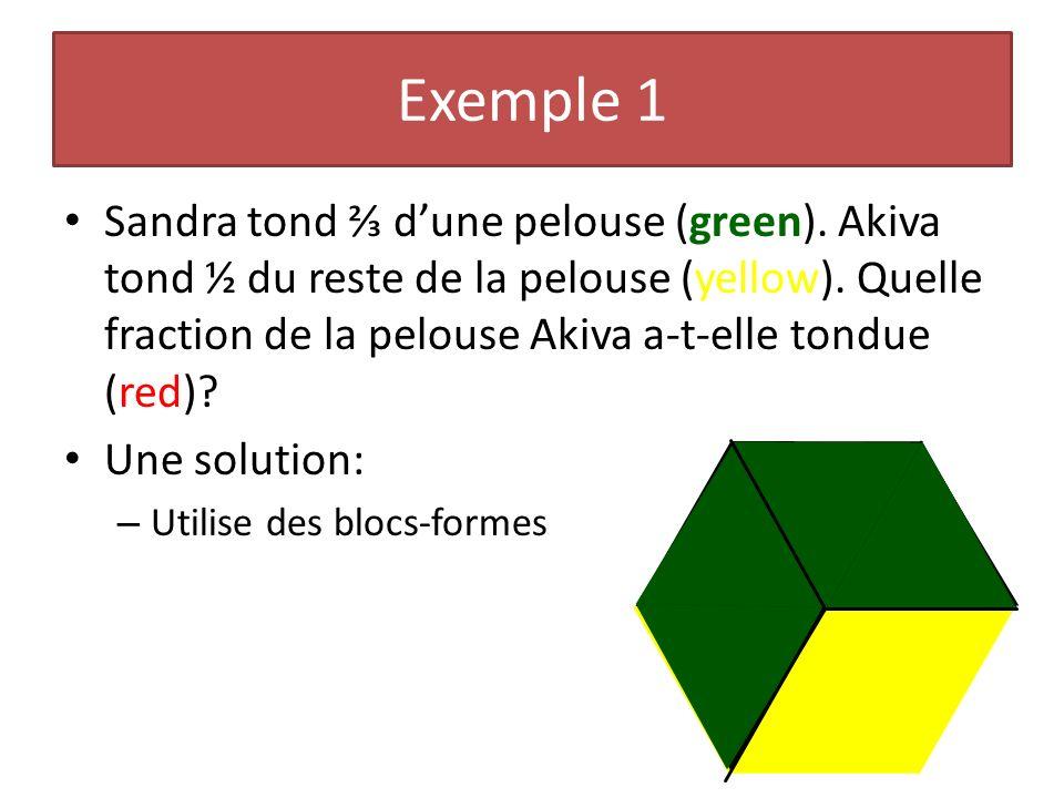 Sandra tond dune pelouse (green). Akiva tond ½ du reste de la pelouse (yellow). Quelle fraction de la pelouse Akiva a-t-elle tondue (red)? Une solutio