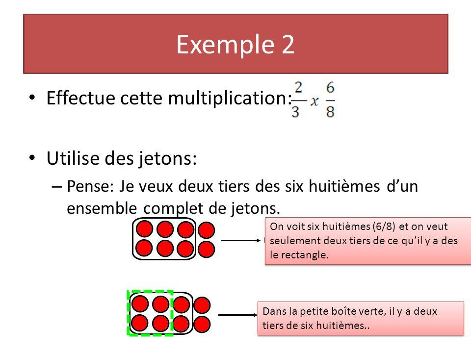 Exemple 2 Effectue cette multiplication: Utilise des jetons: – Pense: Je veux deux tiers des six huitièmes dun ensemble complet de jetons. On voit six