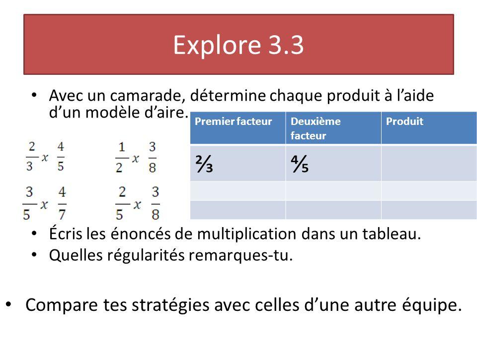Explore 3.3 Avec un camarade, détermine chaque produit à laide dun modèle daire. Écris les énoncés de multiplication dans un tableau. Quelles régulari