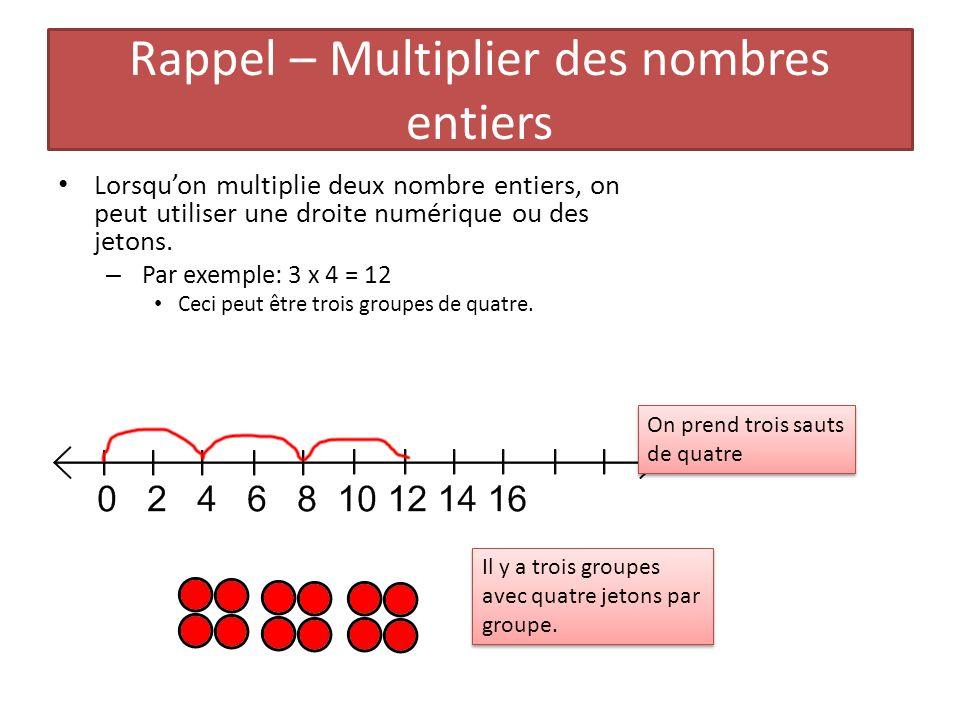 Rappel – Multiplier des nombres entiers Lorsquon multiplie deux nombre entiers, on peut utiliser une droite numérique ou des jetons. – Par exemple: 3