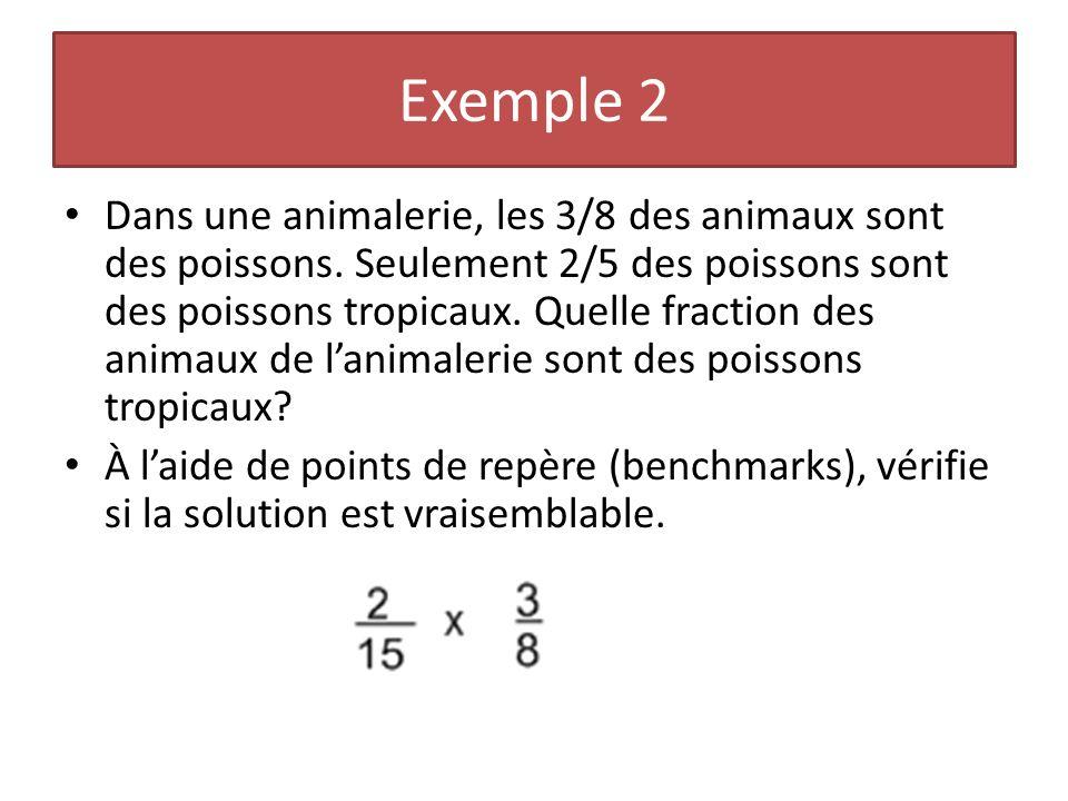 Exemple 2 Dans une animalerie, les 3/8 des animaux sont des poissons. Seulement 2/5 des poissons sont des poissons tropicaux. Quelle fraction des anim