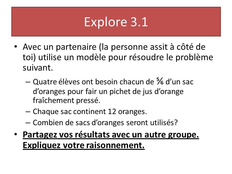 Explore 3.1 Avec un partenaire (la personne assit à côté de toi) utilise un modèle pour résoudre le problème suivant. – Quatre élèves ont besoin chacu