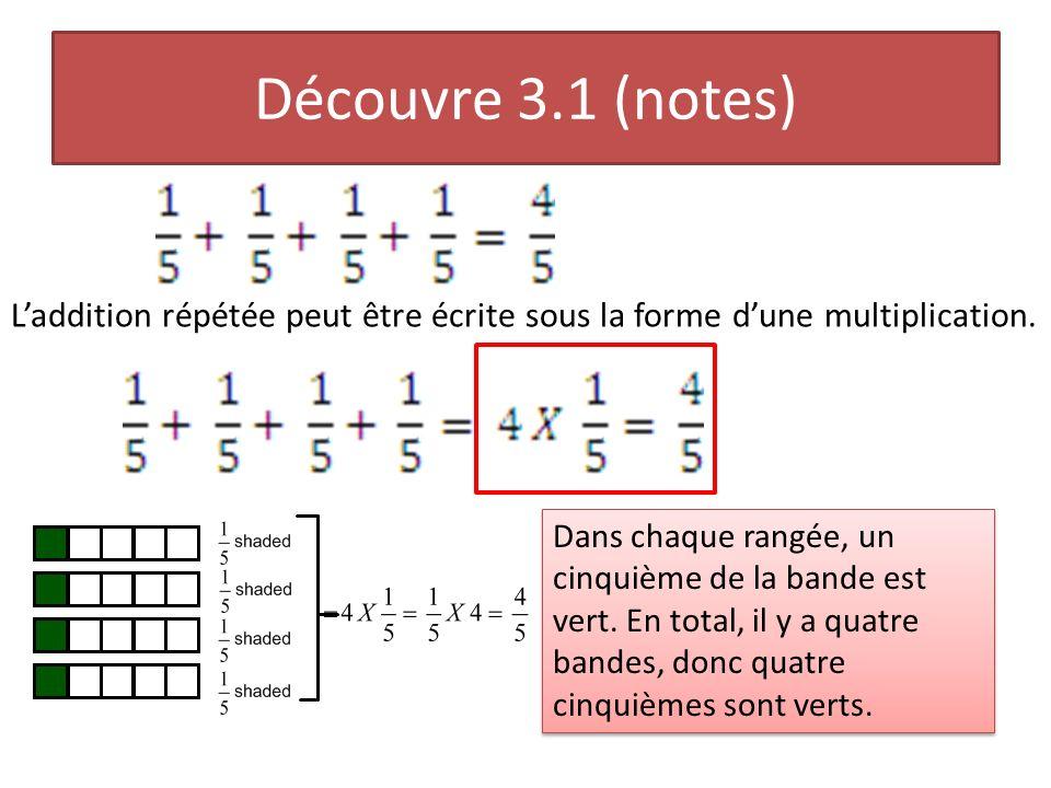 Découvre 3.1 (notes) Laddition répétée peut être écrite sous la forme dune multiplication. Dans chaque rangée, un cinquième de la bande est vert. En t