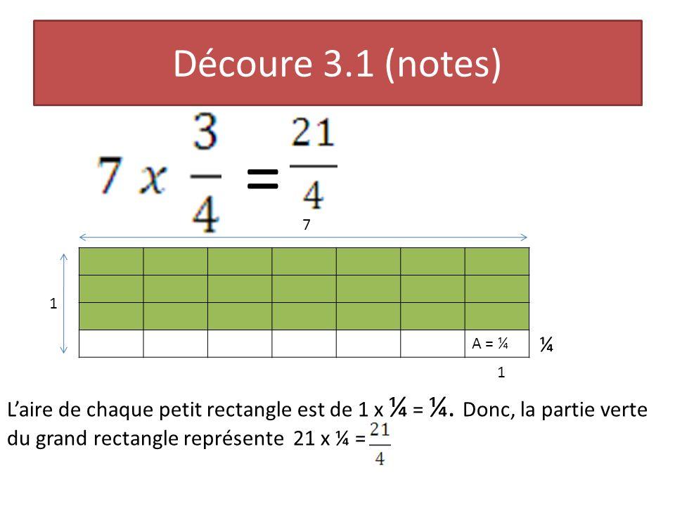 Découvre 3.4 (notes) Ce modèle daire représente cette multiplication: 2½ x 1 A = 1 6 1 1 2 2½ ½ ½ Chaque petit rectangle à un aire de.