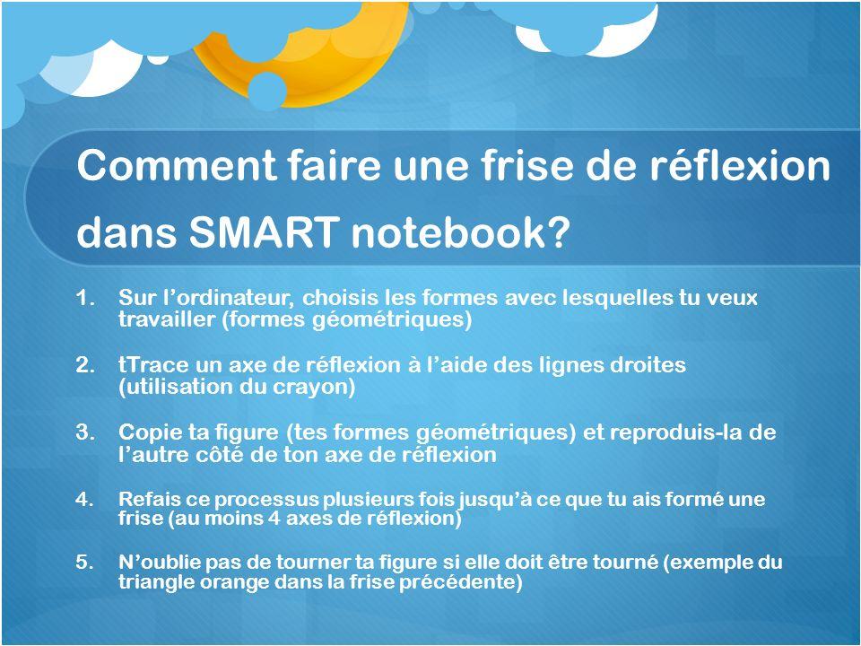 Comment faire une frise de réflexion dans SMART notebook? 1. 1.Sur lordinateur, choisis les formes avec lesquelles tu veux travailler (formes géométri