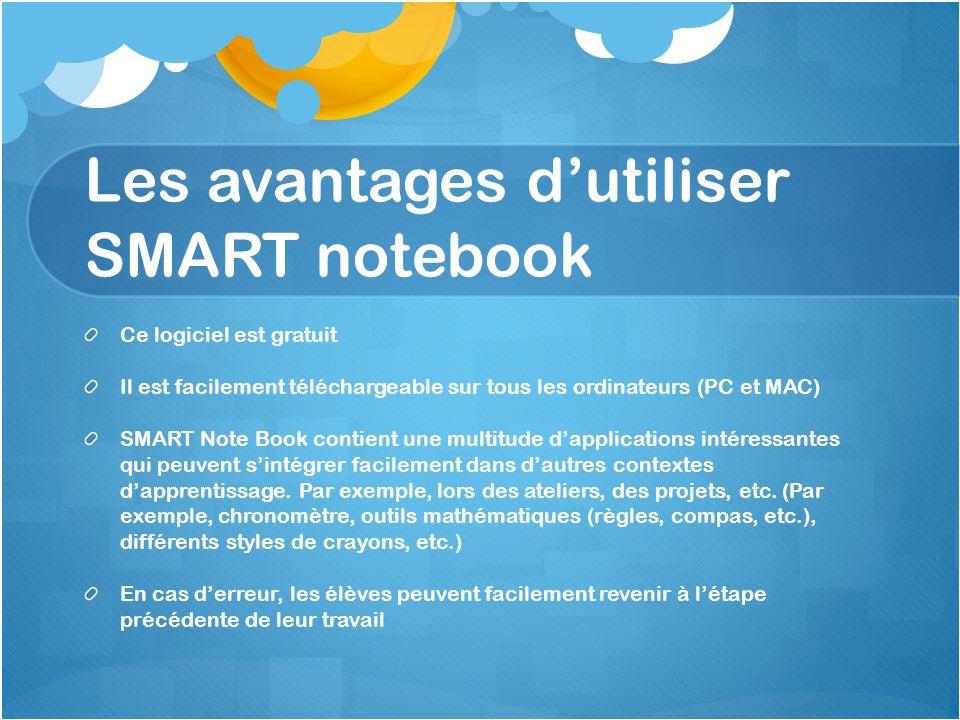 Les avantages dutiliser SMART notebook Ce logiciel est gratuit Il est facilement téléchargeable sur tous les ordinateurs (PC et MAC) SMART Note Book c