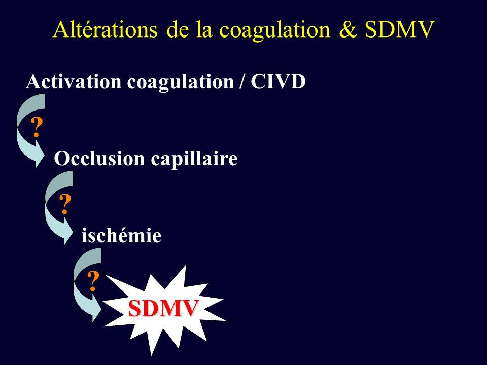 Altérations de la coagulation & SDMV Activation coagulation / CIVD Occlusion capillaire ischémie SDMV .