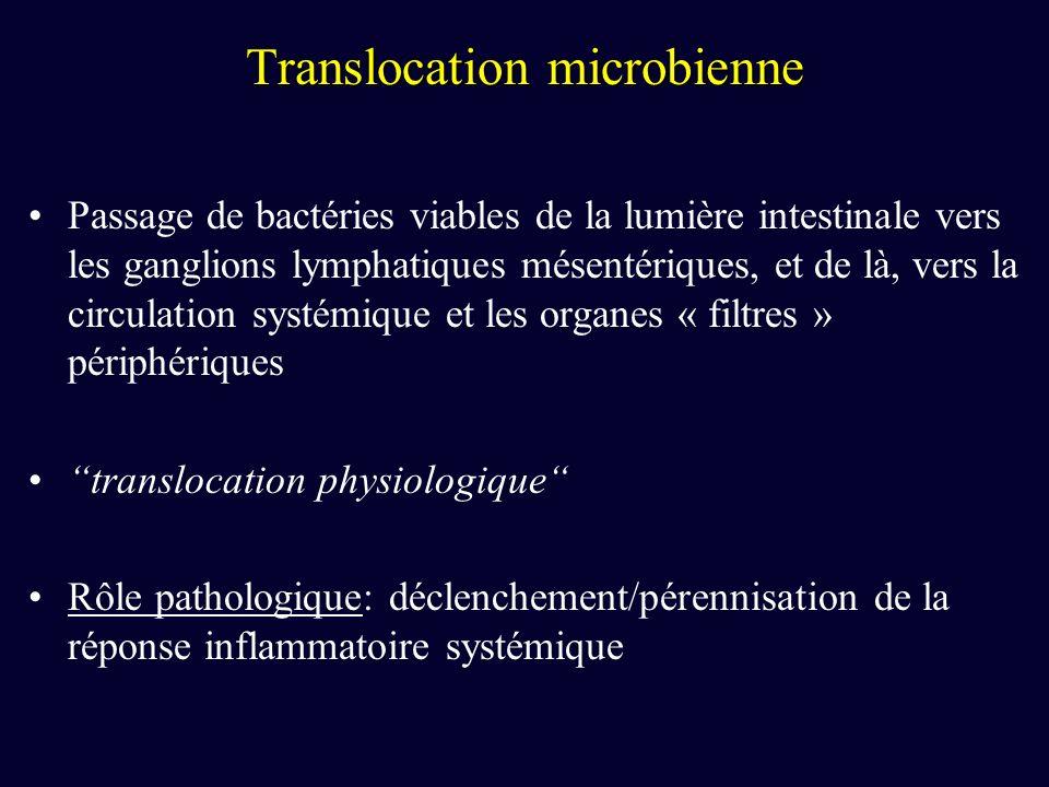Translocation microbienne Passage de bactéries viables de la lumière intestinale vers les ganglions lymphatiques mésentériques, et de là, vers la circulation systémique et les organes « filtres » périphériques translocation physiologique Rôle pathologique: déclenchement/pérennisation de la réponse inflammatoire systémique
