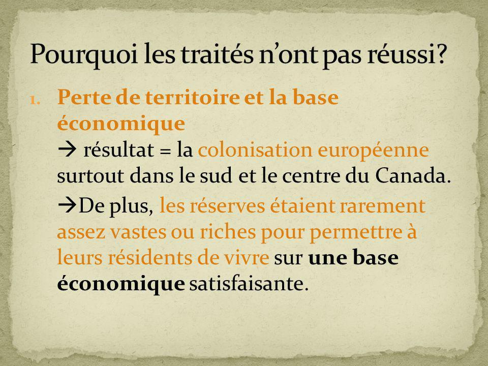 1. Perte de territoire et la base économique résultat = la colonisation européenne surtout dans le sud et le centre du Canada. De plus, les réserves é