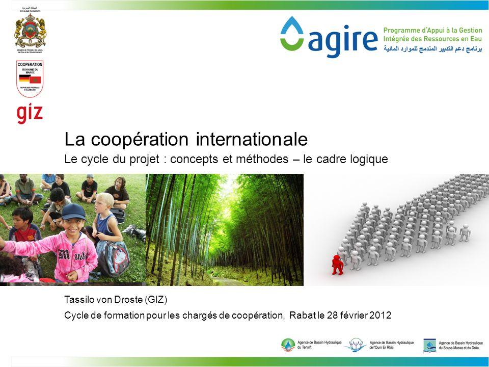 Tassilo von Droste (GIZ) La coopération internationale Cycle de formation pour les chargés de coopération, Rabat le 28 février 2012 Le cycle du projet